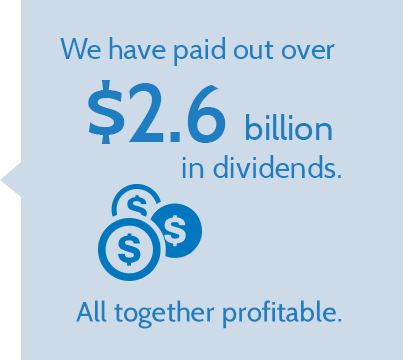 We have paid out over $2.6 billion in dividends. All together profitable.