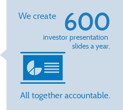 We create 600 investor presentation slides a year. All together accountable.